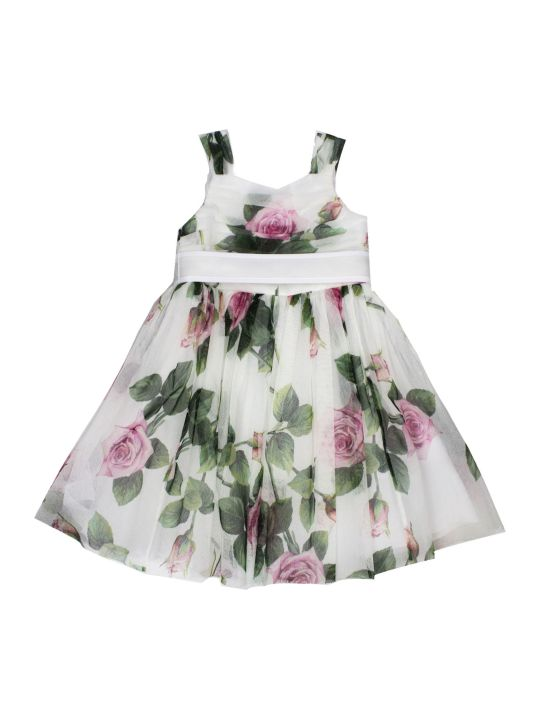Dolce & Gabbana Tulle Midi Dress With Tropical Rose Print