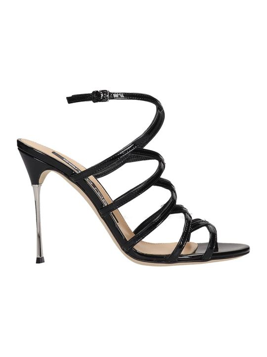 Sergio Rossi Sandals In Black Patent Leather