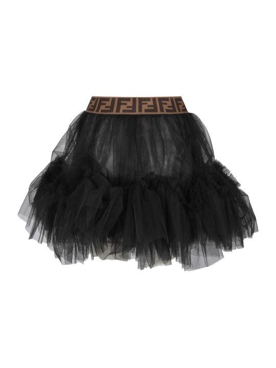 Fendi Black Girl Skirt With Double Ff