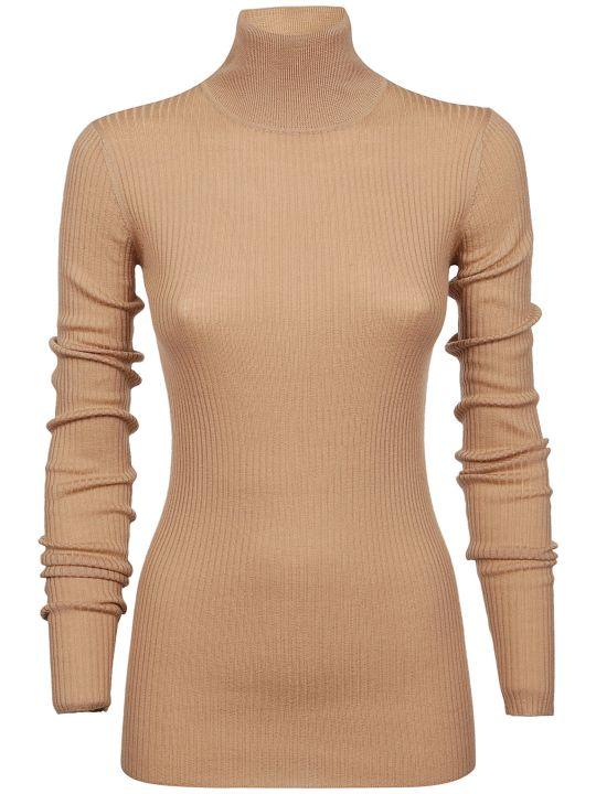 Jil Sander Navy Ribbed Turtleneck Sweater