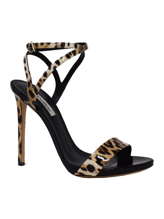 Ninalilou Leopard Print Patent Sandals