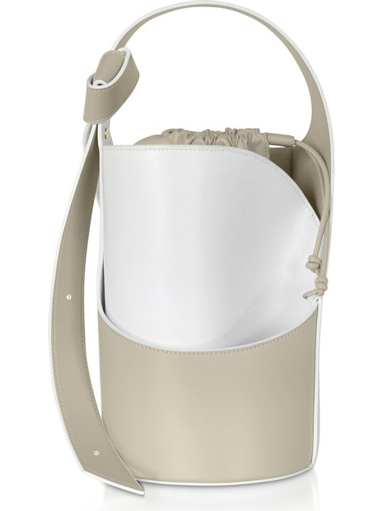 Giaquinto Lily Mini Egret White Bucket Bag