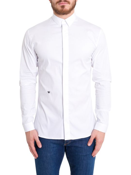 Dior Homme Stretch Poplin Shirt With Embroidery