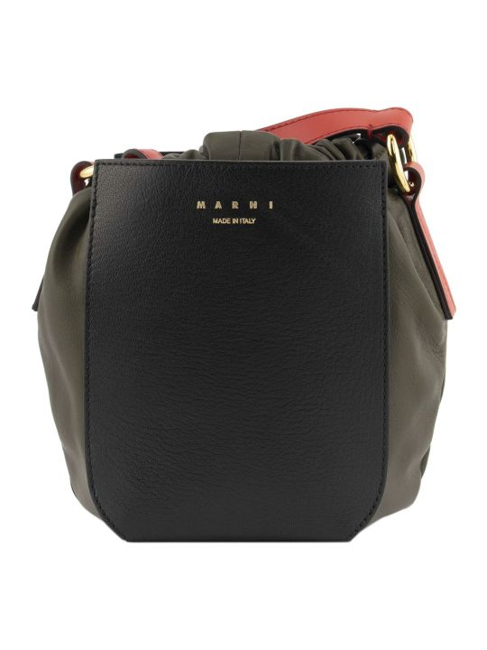 Marni Gusset Shoulder Bag Black+red+th
