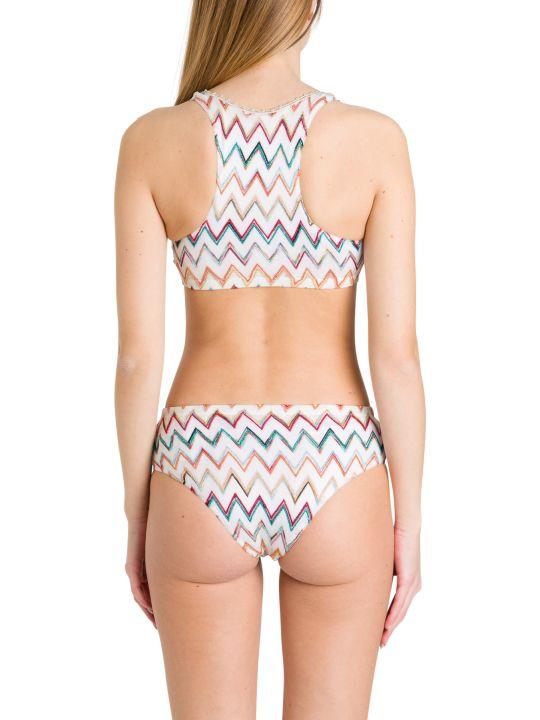 Missoni One-shoulder Bikini In Zig Zag Knit