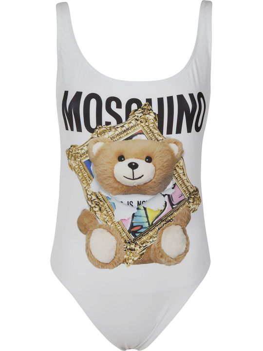 Moschino Bear Logo Print One-piece Swimsuit