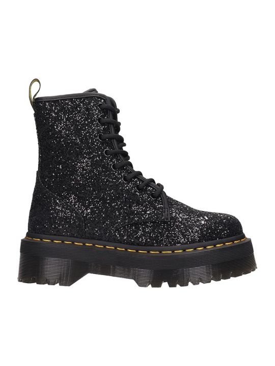 Dr. Martens Jadon  Combat Boots In Black Rubber/plasic