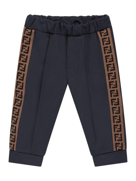 Fendi Blue Babykids Pants With Double Ff