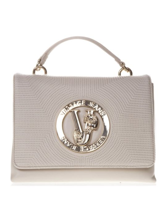 Versace Ivory Faux Leather Hand Bag With Logo