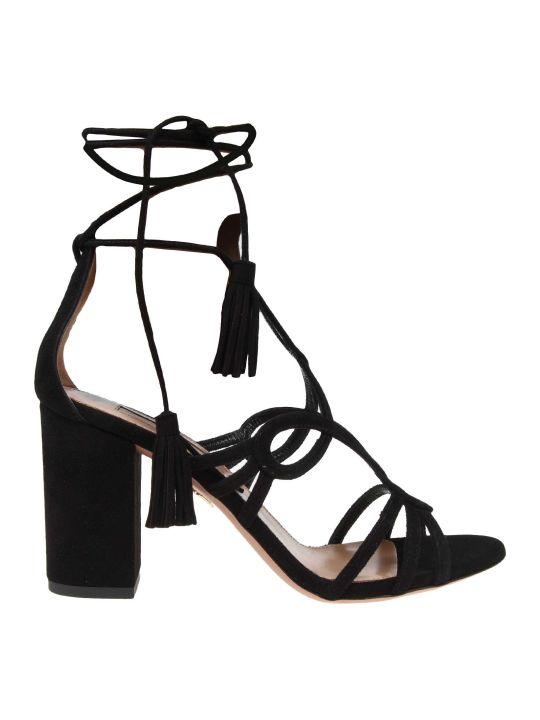 Aquazzura Azzareo Gitana Sandal In Suede Black Leather