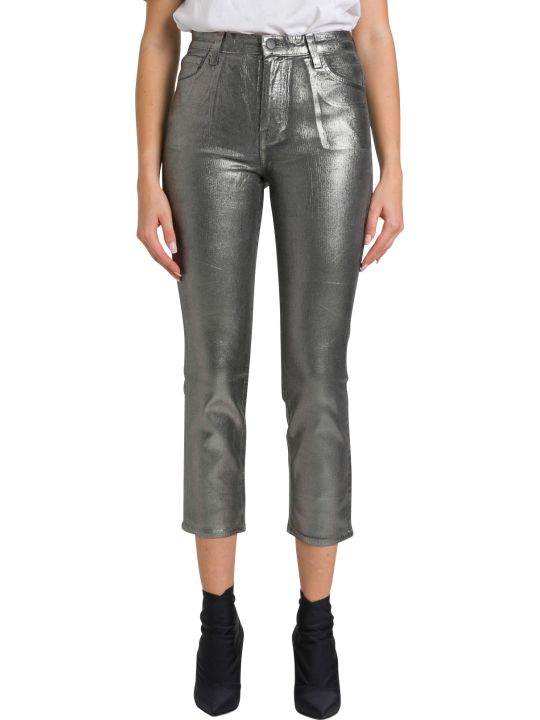 J Brand Ruby High-rise Cropped Cigarette In Coated Corduroy Silver Sleepwalker