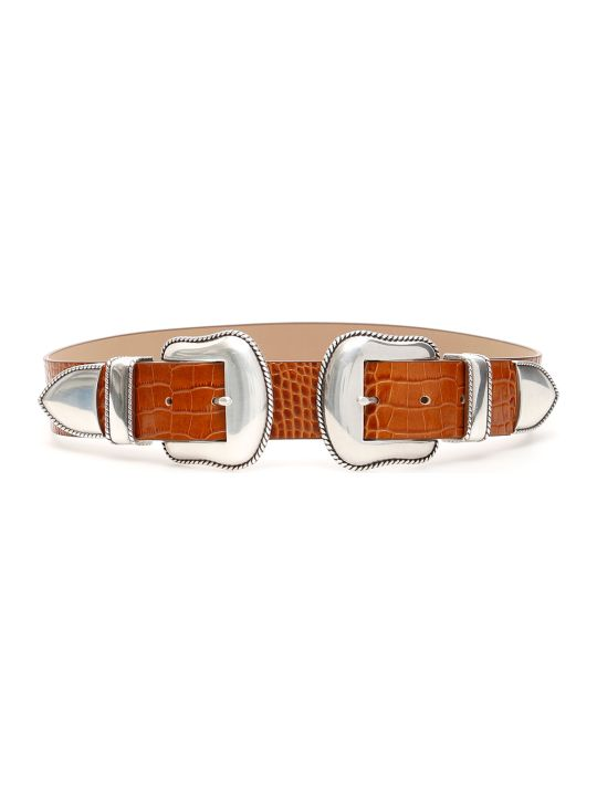 B-Low the Belt Rouge Croco Belt With Double Buckle