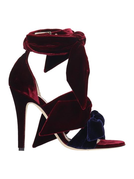 GIA COUTURE Sandals In Bordeaux Velvet