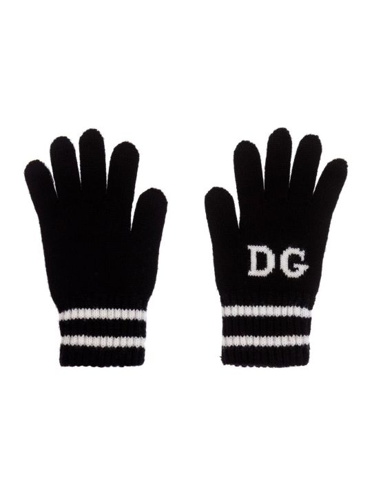 Dolce & Gabbana Black And White Gloves Dolce&gabbana Kids