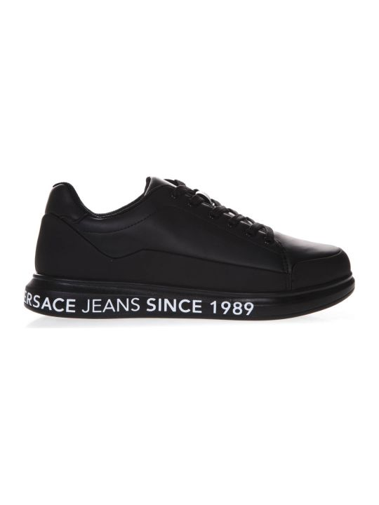 Versace Black Leather Sneakers With Logo