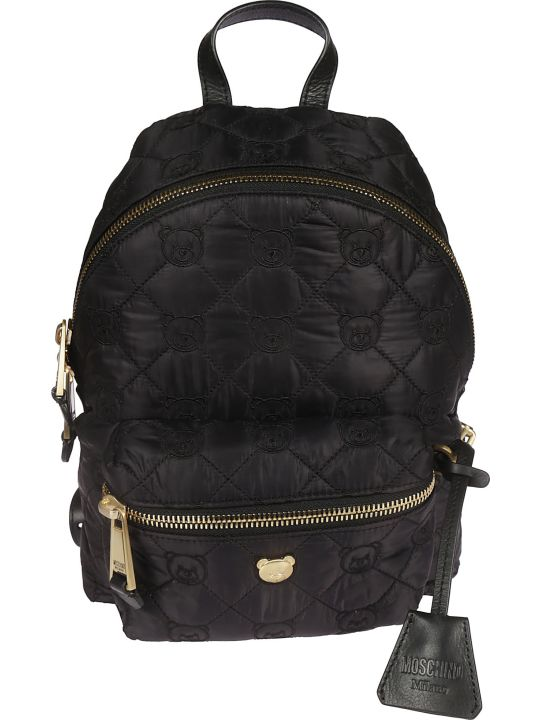 Moschino Embroidered Bear Quilted Backpack