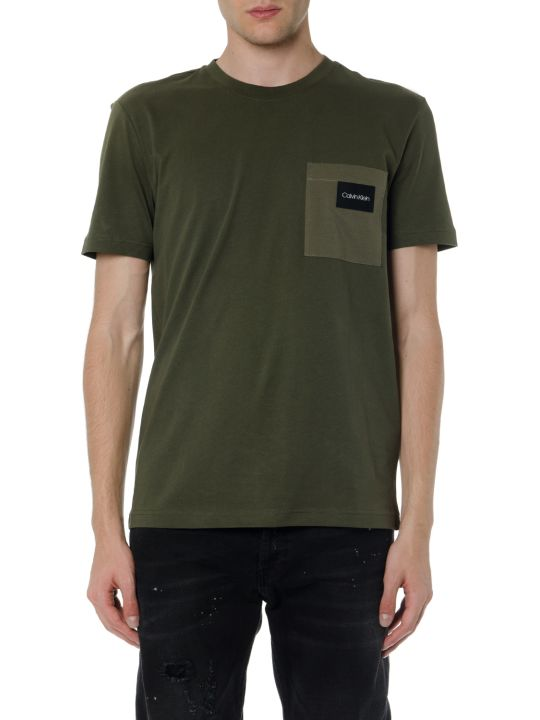 Calvin Klein Green Olive Cotton T Shirt With Pocket