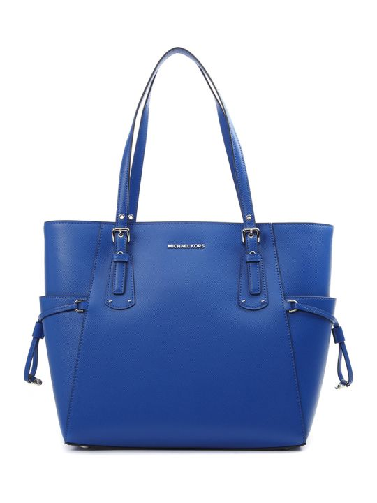 MICHAEL Michael Kors Blue Voyager Cross Leather Tote Leather