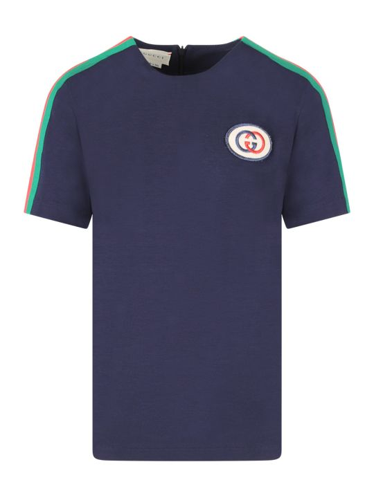 Gucci Blue Girl T-shirt With Red And Green Web Detail