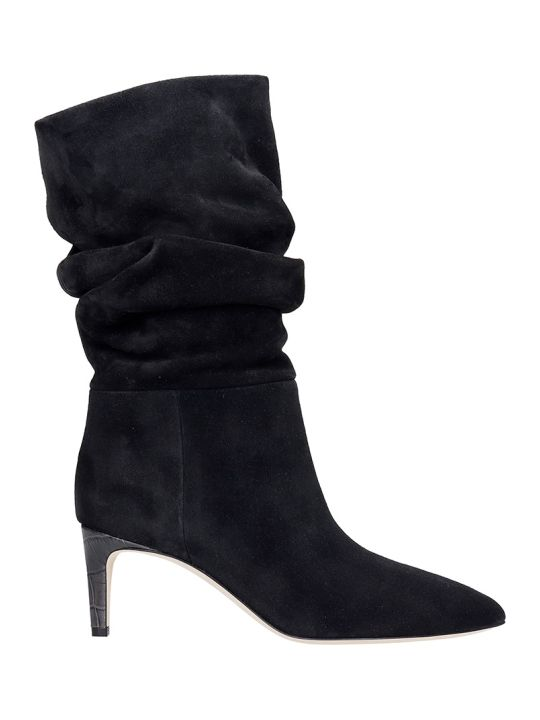 Paris Texas High Heels Ankle Boots In Black Suede