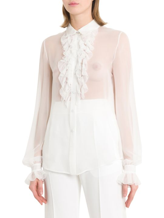 Alberta Ferretti See-through Shirt With Ruffles