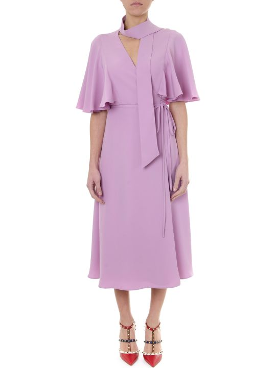 Valentino Pink Long Wide Silk Dress