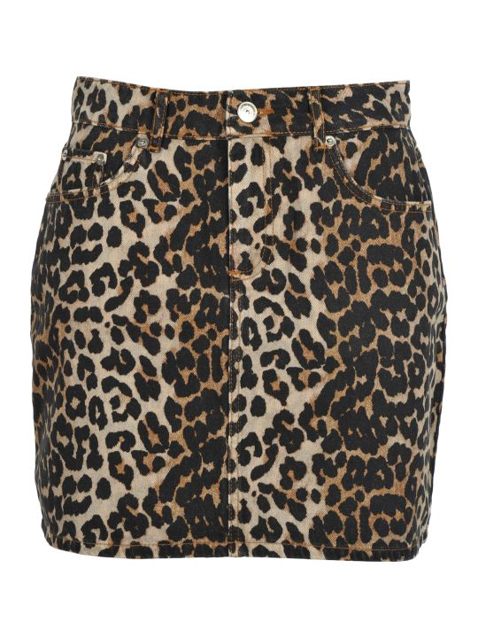 Ganni Leopard Print Denim Skirt