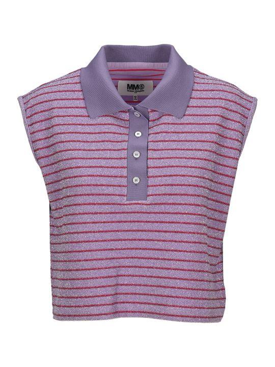 MM6 Maison Margiela Mm6 Cropped Lurex Stripes Polo Shirt