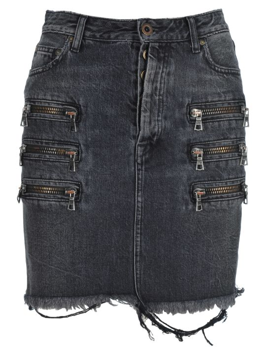 Ben Taverniti Unravel Project Unravel Zip-detail Distressed Denim Skirt
