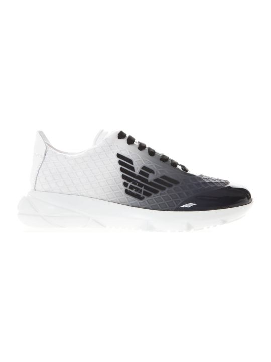 Emporio Armani Shaded Sneakers In White And Black Technical Fabric