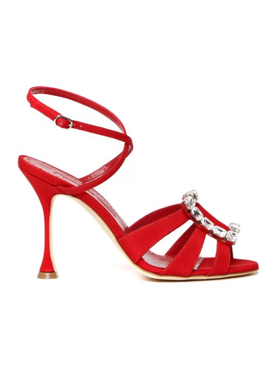 Manolo Blahnik Red Ticuna Satin Sandal