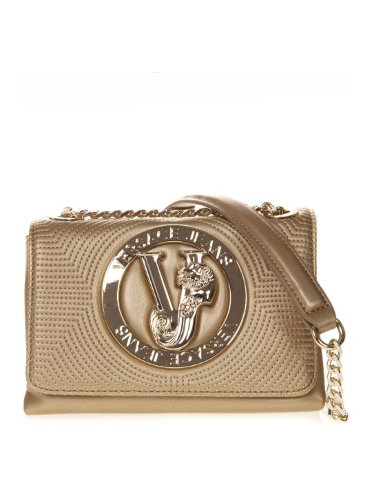 Versace Gold Faux Leather Shoulder Bag With Logo