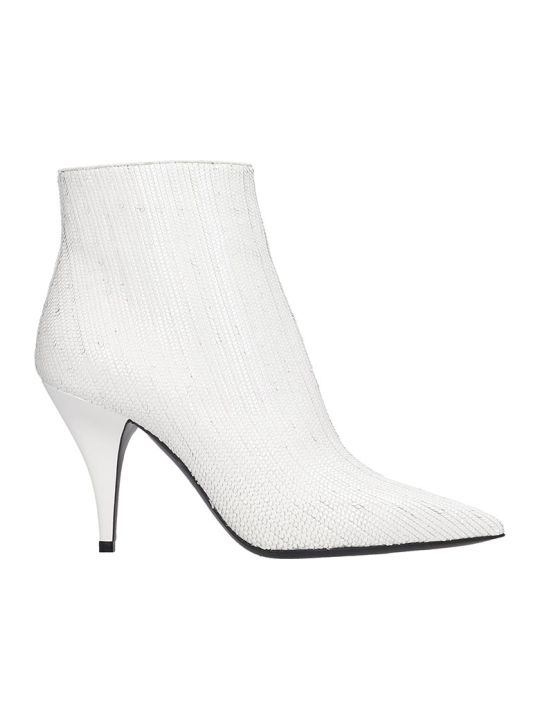 Casadei Delfina Fish Ankle Boots In White Leather