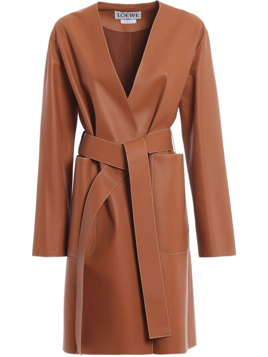 Loewe Contrast Stitch Leather Coat