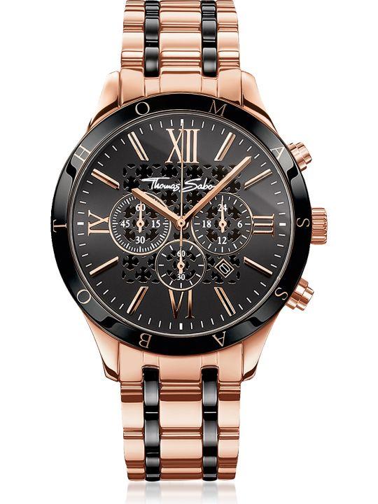 Thomas Sabo Rebel Urban Rose Gold Stainless Steel And Black Ceramic Men's Chronograph Watch