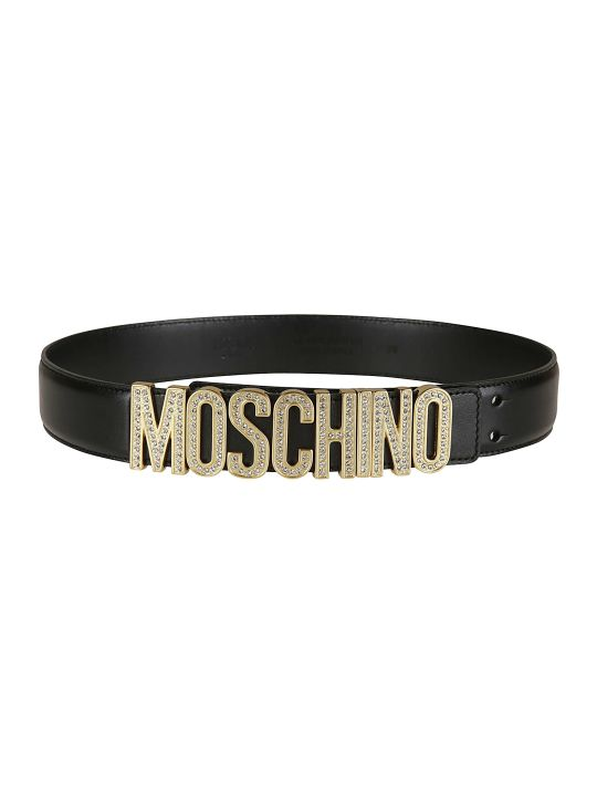 Moschino Crystal Embellished Logo Belt