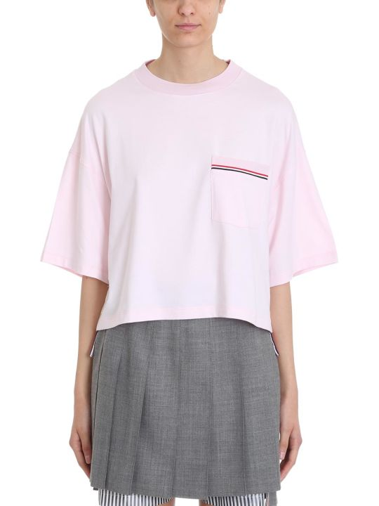 Thom Browne Oversized T-shirt In Pink Piqu? Cotton