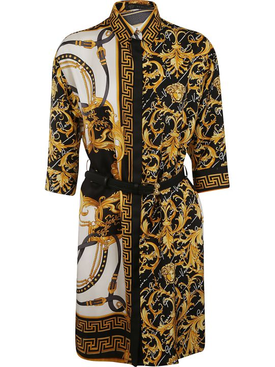 Versace Contrast Detail Print Belted Dress