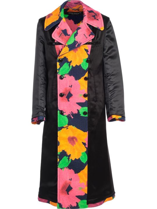 Junya Watanabe Comme Des Garçons Coat High Neck Double Breasted Flower Print