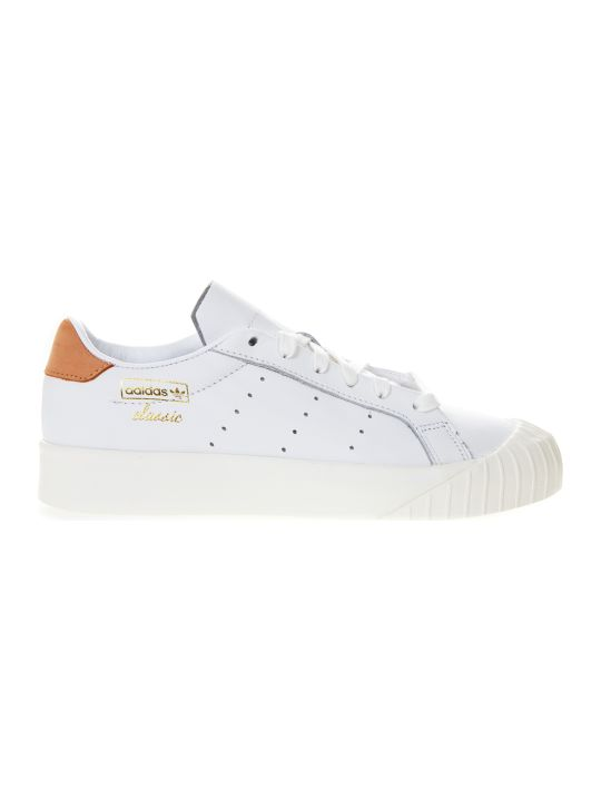 Adidas Originals Evryn White Leather With Orange Nubuck Insert