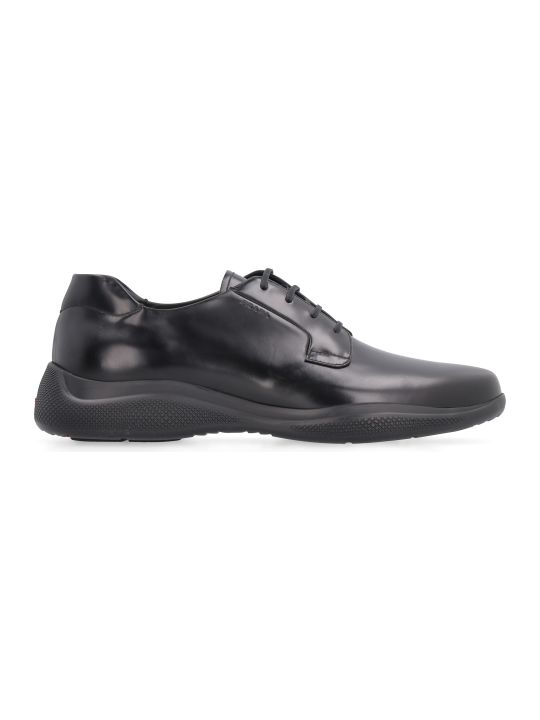 Prada Linea Rossa Leather Lace-up Derby Shoes