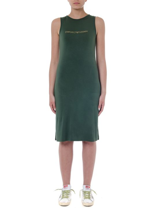 Emporio Armani Military Green Viscose Dress With Logo