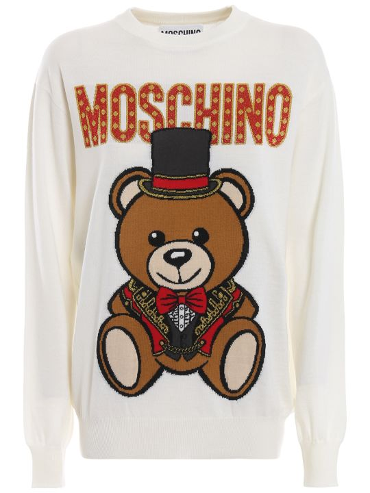 Moschino Teddy Circus Off White Wool Sweater 09010501a1002