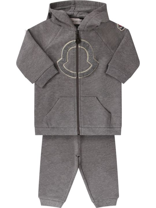 Moncler Grey Babygirl Tracksuit With Iconic Patch