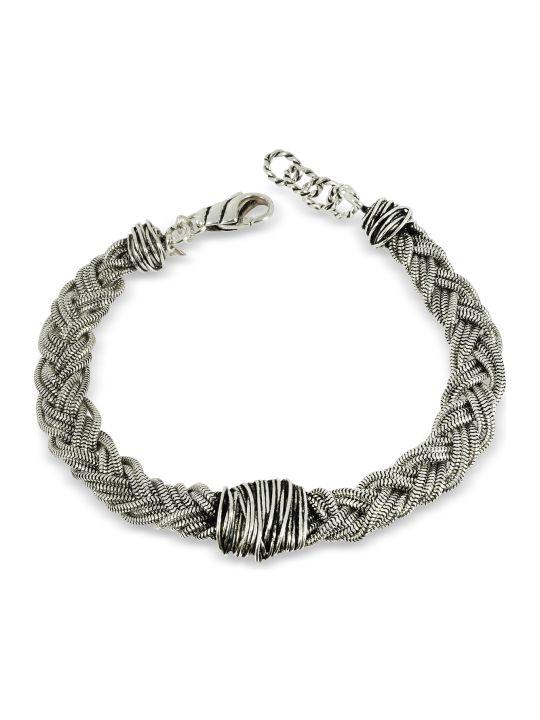 GIACOMOBURRONI Giacomo Burroni Sterling Silver Braid W/etruscan Knot
