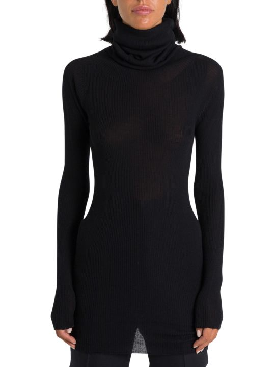 Rick Owens Larry Tube Ribbed Knit Turtleneck