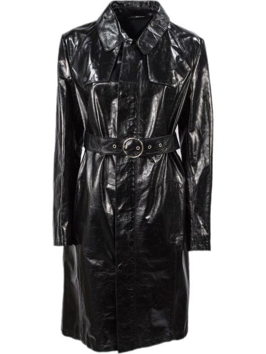 Maison Margiela Black Leather Belted Coat