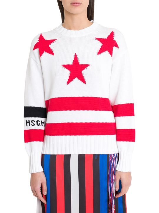 MSGM Stars And Stripes Jacquard Sweater