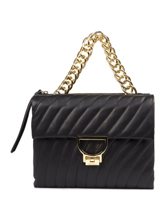 Coccinelle Black Arlettis Quilted & Smooth Leather Bag