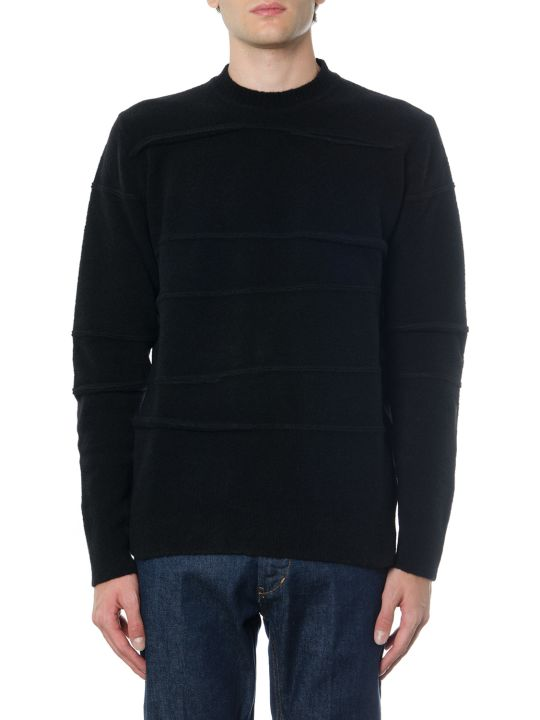 Diesel Black Gold Black Wool Blen Round Neck Jumper